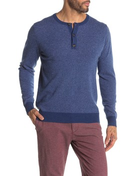 Micro Stripe Cashmere Henley by Quinn