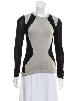Colorblock Pattern Crew Neck Sweater by Helmut Lang