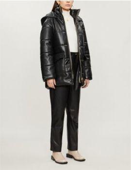 Lenox Belted Faux Leather Coat by Nanushka