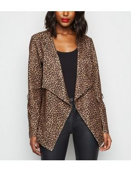 Brown Leopard Print Waterfall Blazer by New Look