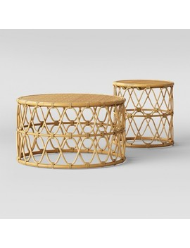 Jewel Round Coffee & Side Table Set Natural   Opalhouse™ by Opalhouse