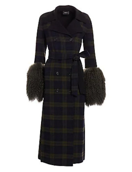 Elea Plaid Removable Shearling Cuff Coat by Akris