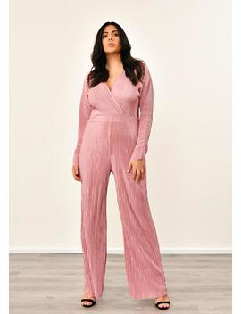 Plus Size Rose Long Sleeve Wrap Pleated Jumpsuit by Pink Clove
