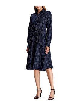 Polka Dot Print Crepe De Chine Long Sleeve Belted Shirtdress by Lauren Ralph Lauren