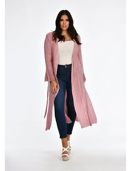 Plus Size Rose Pleated Tie Duster Jacket by Pink Clove