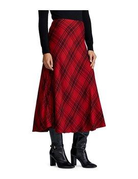Plaid Midi A Line Midi Skirt by Lauren Ralph Lauren