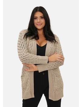 Plus Size Stone Long Cable Knit Cardigan by Pink Clove