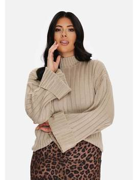 Plus Size Stone Wide Cuff Wide Sleeve Jumper by Pink Clove