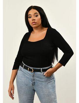 Plus Size Black Square Neck Bodysuit by Pink Clove