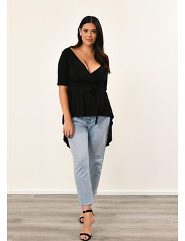 Plus Size Black Wrap Top With Belt by Pink Clove