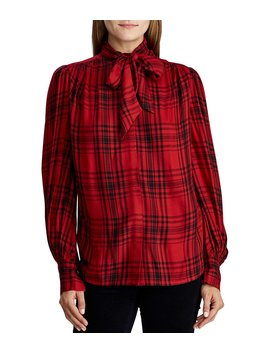 Plaid Tie Neck Button Front Long Sleeve Blouse by Lauren Ralph Lauren