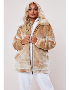 Petite Camel Faux Fur Oversized Jacket by Missguided