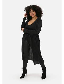 Plus Size Black Pleated Long Duster Jacket by Pink Clove
