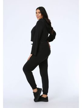Plus Size Slim Fit Joggers In Black by Pink Clove