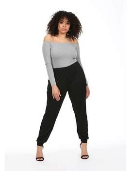 Plus Size Black Trouser Joggers by Pink Clove
