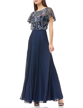 Embroidered Illusion Bodice Pleated Gown by Js Collections