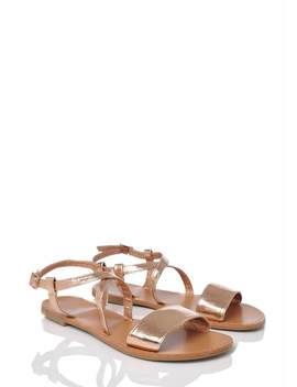 Wide Fit Rose Gold Ankle Strap Flat Sandals by Pink Clove