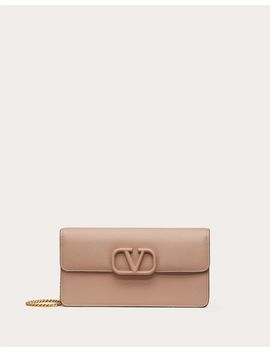 Vsling Grainy Calfskin Wallet With Chain Strap by Valentino Garavani