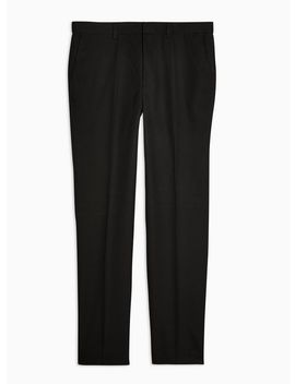 Black Slim Textured Suit Trousers by Topman