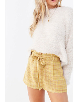 Plaid High Rise Paperbag Shorts by Forever 21