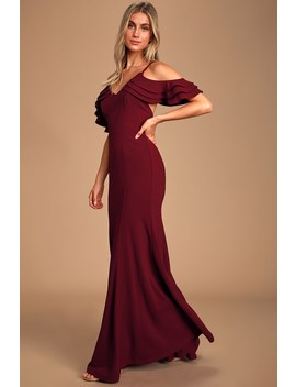 Forever Smitten Burgundy Cold Shoulder Maxi Dress by Lulus