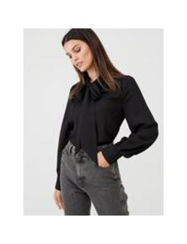Pussybow Blouse   Black by V By Very