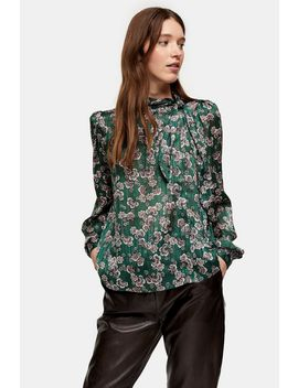 Green Printed Pussybow Blouse by Topshop