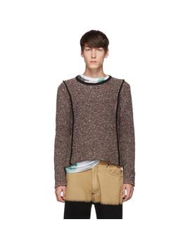 Black & Brown Erosion Carpet Sweater by Eckhaus Latta