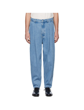 Blue Pleated Jeans by Hed Mayner