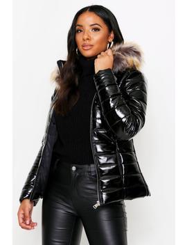 Wetlook Puffer Coat With Fur Hood Wetlook Puffer Coat With Fur Hood by Misspap