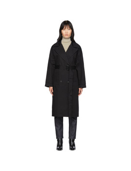 Black Oversized Trench Coat by The Loom