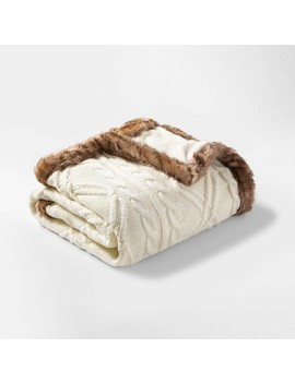 Cable Knit Throw Blanket With Mink Faux Fur Reverse And Faux Fur Trim   Threshold™ by Threshold