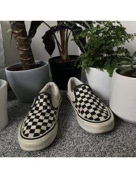 Checkered Old Skool Vans Slip On Shoes Good by Depop