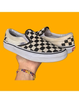 White And Black Checkerboard Slip On Vans by Depop