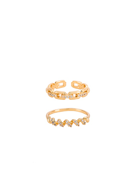 Link Ring Set In Gold by Ettika