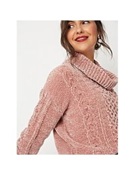 Pale Pink Chenille Cable Knit Cowl Neck Jumper by Asda
