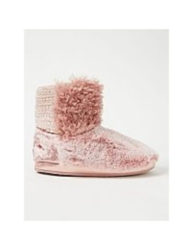 Pink Patchwork Slipper Boots by Asda