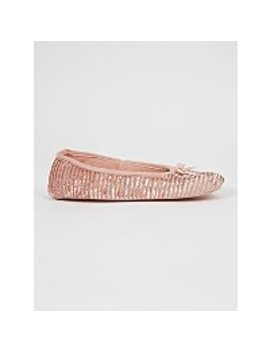 Pale Pink Ribbed Velour Ballet Slippers by Asda