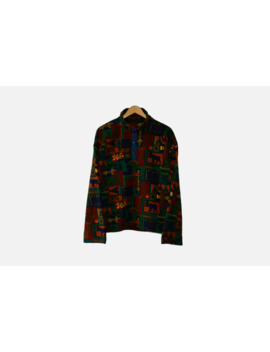 Vintage Aztec Fleece Jacket Oversized Retro 90s Size ~ M L by Vintage  ×  Non Brand  ×