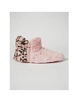 Pink Leopard Print Faux Fur Slipper Boots by Asda