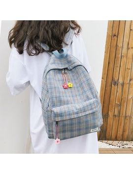 Musis   Plaid  Canvas Backpack by Musis