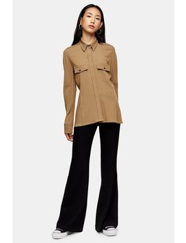 **Camel Pintuck Shirt By Topshop Boutique by Topshop