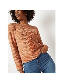 Light Brown Chenille Cable Crew Neck Jumper by Asda