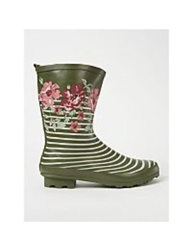 Khaki Floral Striped Wellington Boots by Asda