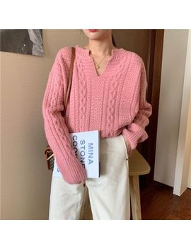 Moon City   V Neck Cable Knit Sweater by Moon City