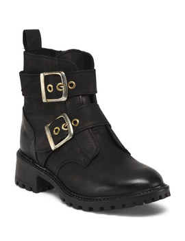 Made In Portugal Leather Booties With Gold Buckles by Tj Maxx