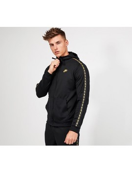 Repeat Tape Full Zip Hooded Top | Black / Gold by Nike