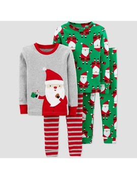 Toddler Boys' 4pc Santa 100% Cotton Pajama Set   Just One You® Made By Carter's Gray/Green by Just One You Made By Carter's
