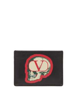 X Undercover Skull Print Leather Card Holder by Valentino