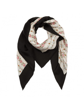 Gg Logo Rose Print Silk Scarf White by Gucci
